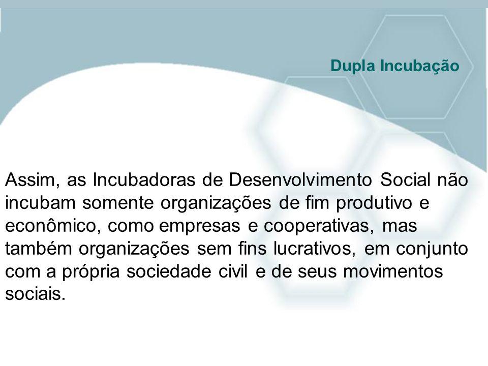 Assim, as Incubadoras de Desenvolvimento Social não incubam somente organizações de fim produtivo e econômico, como empresas e cooperativas, mas també