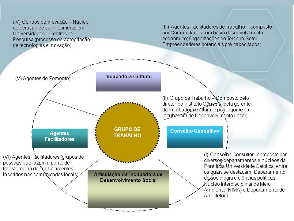 Incubadora Cultural Agentes Facilitadores Conselho Consultivo Articulação da Incubadora de Desenvolvimento Social GRUPO DE TRABALHO (II) Grupo de Trab