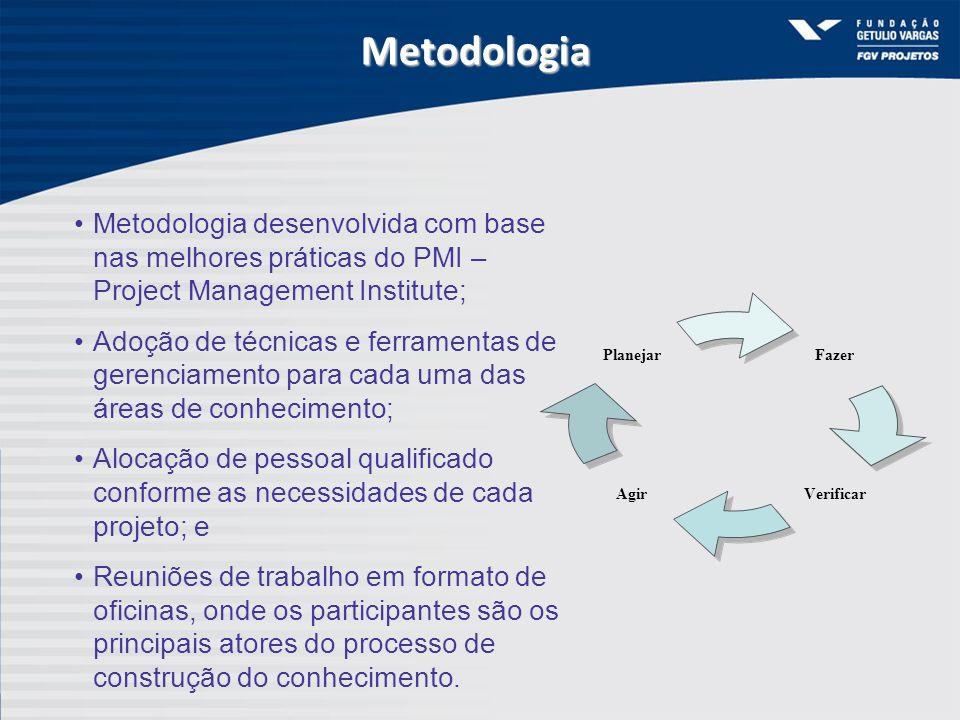 Metodologia Metodologia desenvolvida com base nas melhores práticas do PMI – Project Management Institute; Adoção de técnicas e ferramentas de gerenci