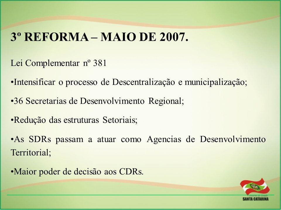 ______________________________________________________________ CONSELHOS DE DESENVOLVIMENTO REGIONAL Características: Formular e dar as diretrizes para as Secretarias de Desenvolvimento Regional; Caráter consultivo e deliberativo que assegure livre participação da sociedade organizada;