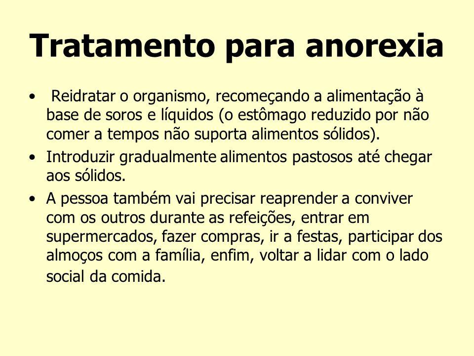 Tratamento para anorexia Reidratar o organismo, recomeçando a alimentação à base de soros e líquidos (o estômago reduzido por não comer a tempos não s