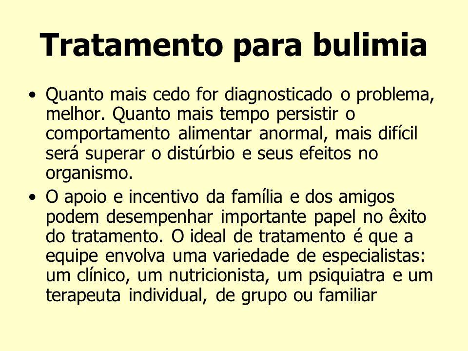 Tratamento para bulimia Quanto mais cedo for diagnosticado o problema, melhor. Quanto mais tempo persistir o comportamento alimentar anormal, mais dif
