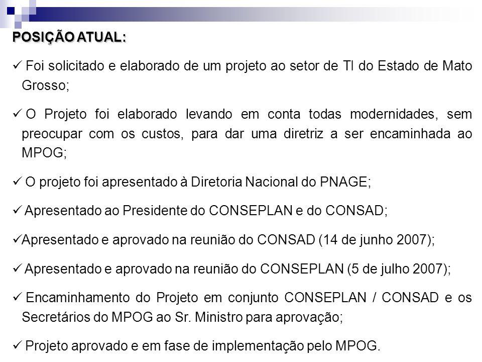 POSIÇÃO ATUAL: Foi solicitado e elaborado de um projeto ao setor de TI do Estado de Mato Grosso; O Projeto foi elaborado levando em conta todas modern