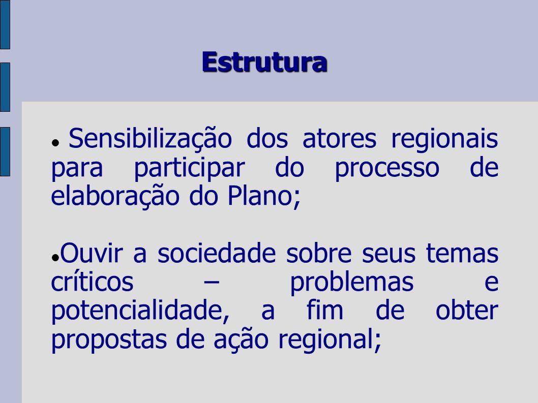 Estrutura Sensibilização dos atores regionais para participar do processo de elaboração do Plano; Ouvir a sociedade sobre seus temas críticos – problemas e potencialidade, a fim de obter propostas de ação regional;