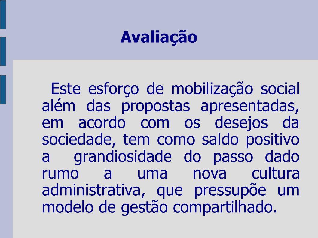 Avaliação Este esforço de mobilização social além das propostas apresentadas, em acordo com os desejos da sociedade, tem como saldo positivo a grandio