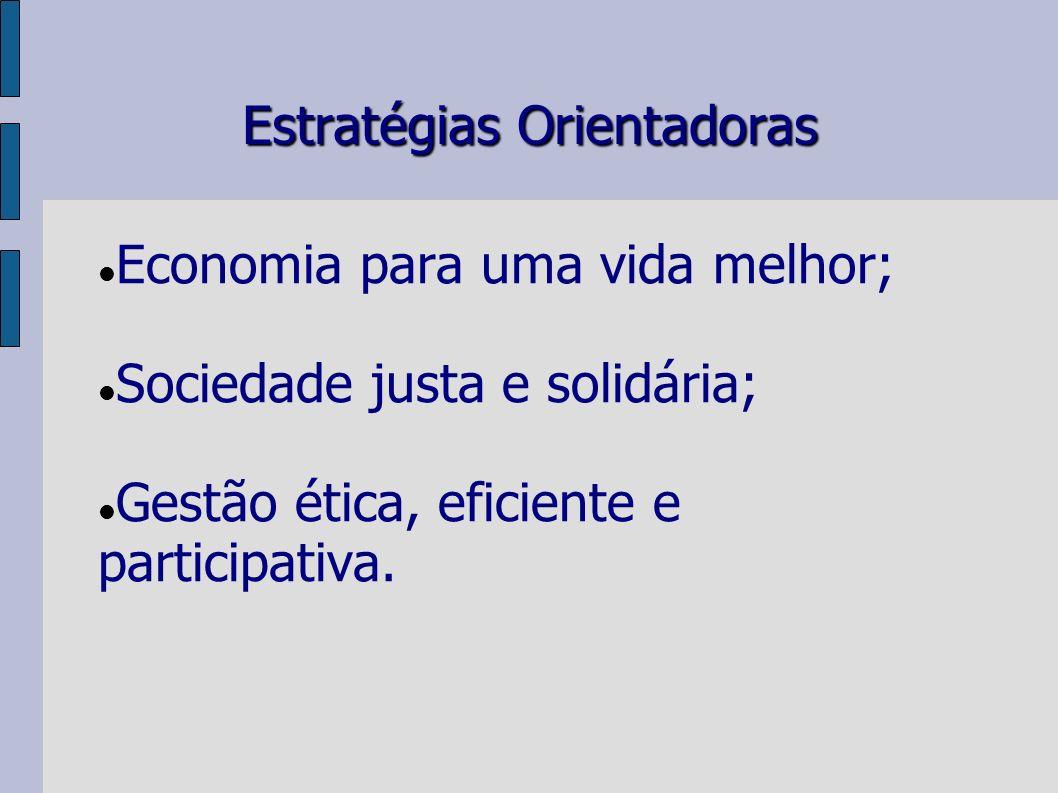 Estratégias Orientadoras Economia para uma vida melhor; Sociedade justa e solidária; Gestão ética, eficiente e participativa.