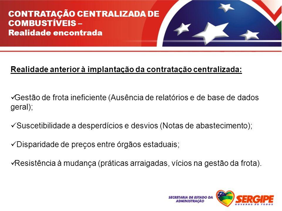 CONTRATAÇÃO CENTRALIZADA DE COMBUSTÍVEIS – Realidade encontrada Realidade anterior à implantação da contratação centralizada: Gestão de frota ineficie