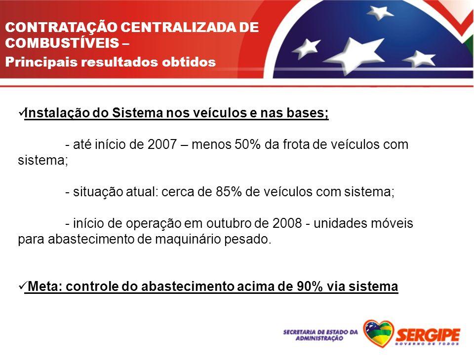CONTRATAÇÃO CENTRALIZADA DE COMBUSTÍVEIS – Principais resultados obtidos Instalação do Sistema nos veículos e nas bases; - até início de 2007 – menos