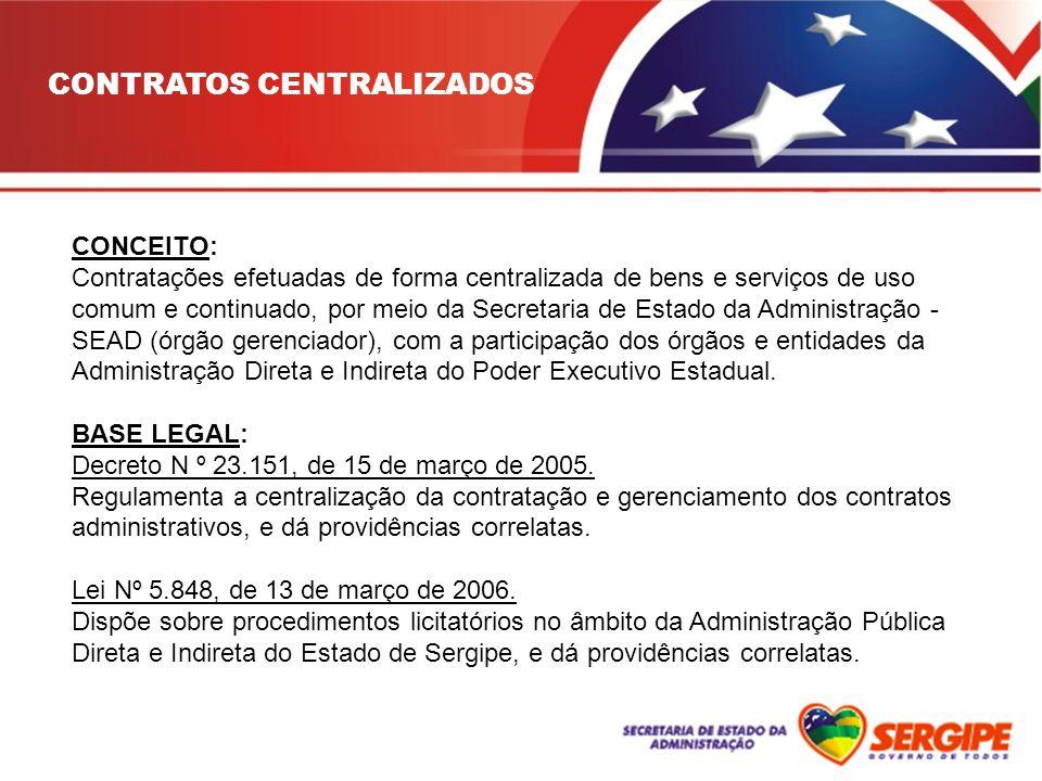 CONCEITO: Contratações efetuadas de forma centralizada de bens e serviços de uso comum e continuado, por meio da Secretaria de Estado da Administração