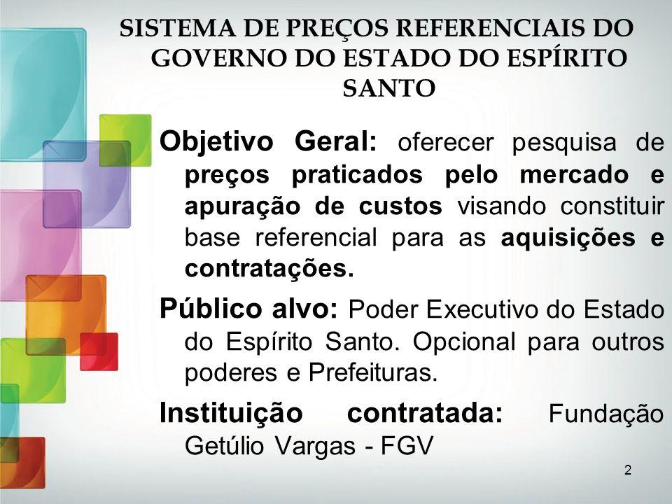 2 SISTEMA DE PREÇOS REFERENCIAIS DO GOVERNO DO ESTADO DO ESPÍRITO SANTO Objetivo Geral: oferecer pesquisa de preços praticados pelo mercado e apuração