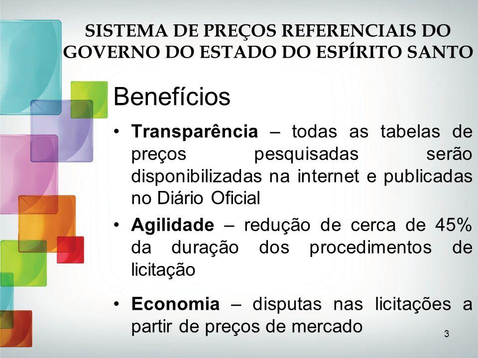 3 Benefícios Transparência – todas as tabelas de preços pesquisadas serão disponibilizadas na internet e publicadas no Diário Oficial Agilidade – redu