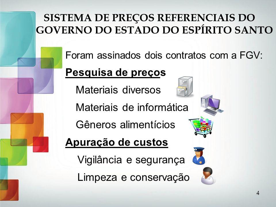 15 SISTEMA DE PREÇOS REFERENCIAIS DO GOVERNO DO ESTADO DO ESPÍRITO SANTO