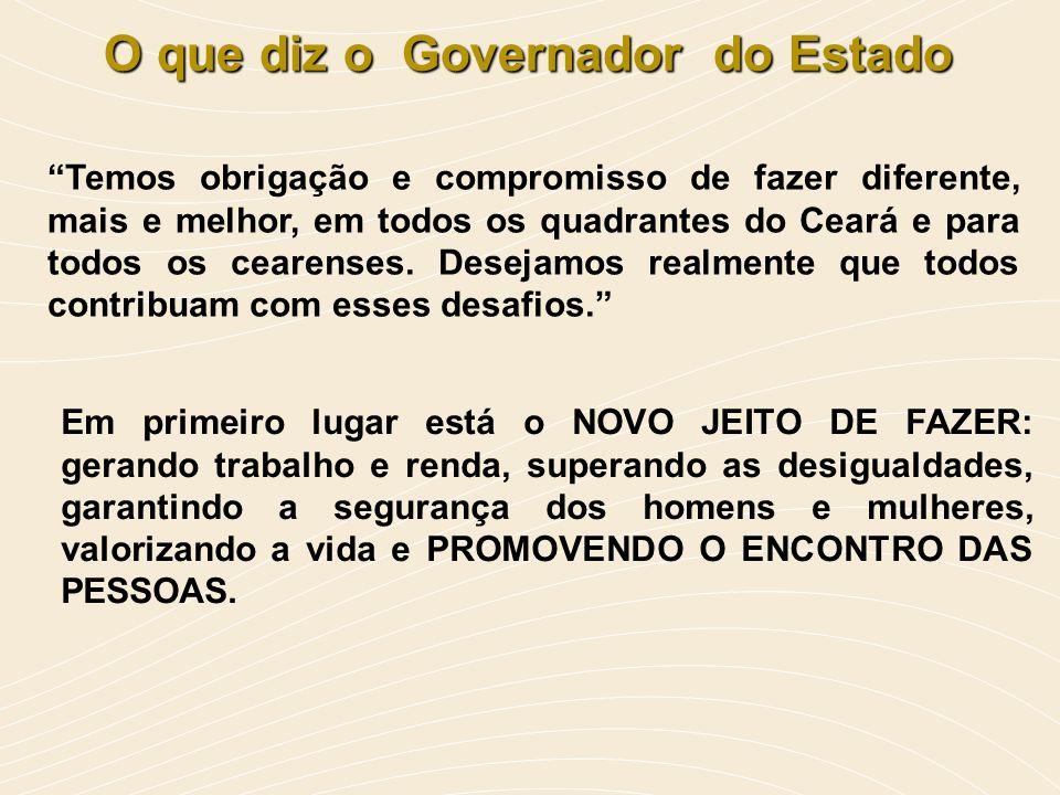 O que diz o Governador do Estado Em primeiro lugar está o NOVO JEITO DE FAZER: gerando trabalho e renda, superando as desigualdades, garantindo a segu