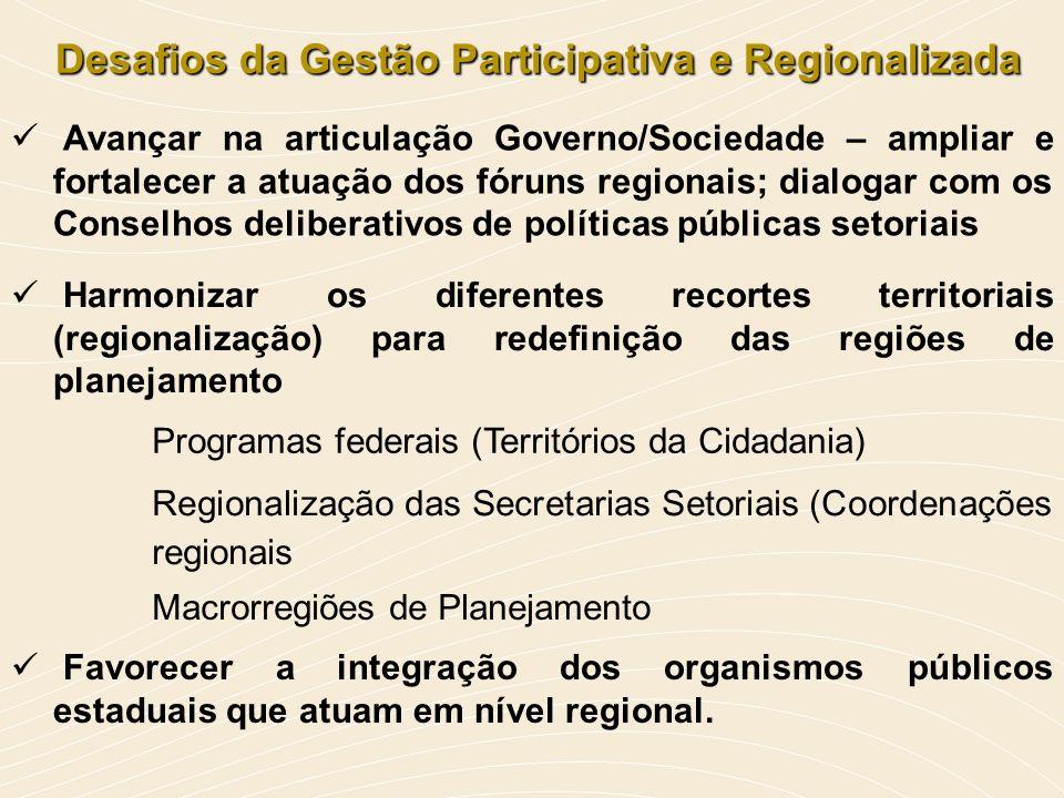 Desafios da Gestão Participativa e Regionalizada Desafios da Gestão Participativa e Regionalizada Avançar na articulação Governo/Sociedade – ampliar e