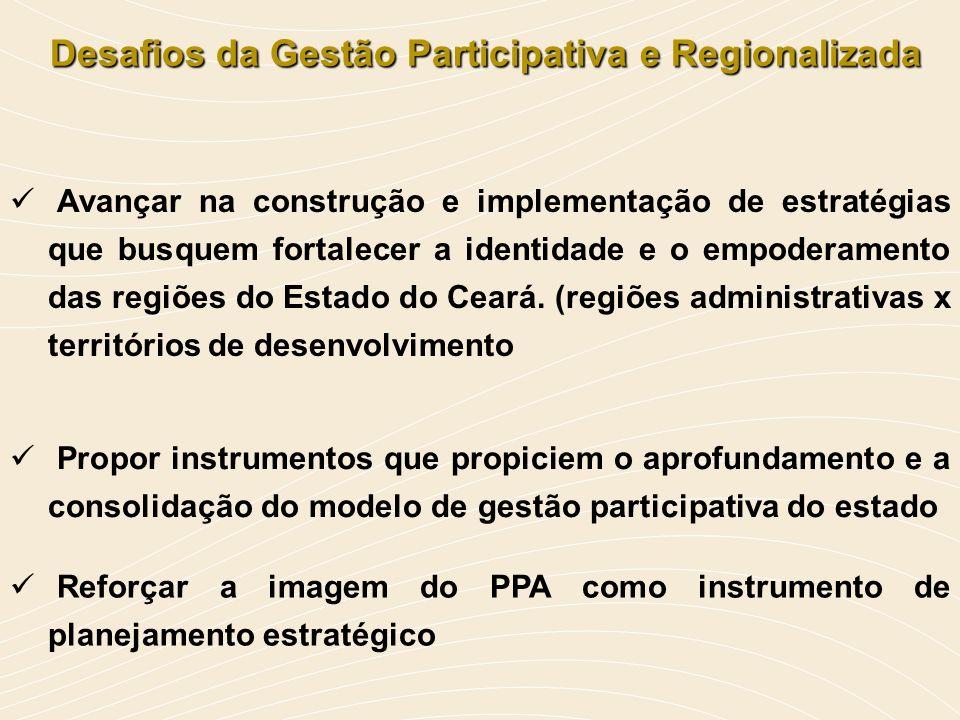 Desafios da Gestão Participativa e Regionalizada Desafios da Gestão Participativa e Regionalizada Avançar na construção e implementação de estratégias