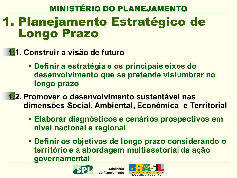 MINISTÉRIO DO PLANEJAMENTO 1.1. Construir a visão de futuro Definir a estratégia e os principais eixos do desenvolvimento que se pretende vislumbrar n