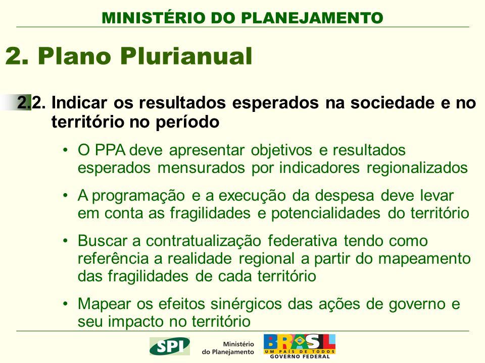 MINISTÉRIO DO PLANEJAMENTO 2. Plano Plurianual 2.2. Indicar os resultados esperados na sociedade e no território no período O PPA deve apresentar obje