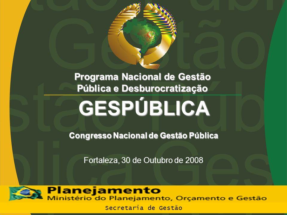 GESPÚBLICA Programa Nacional de Gestão Pública e Desburocratização Congresso Nacional de GestãoPública Congresso Nacional de Gestão Pública Fortaleza,
