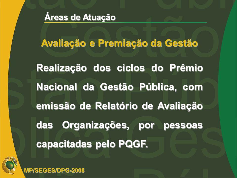 Áreas de Atuação Avaliação e Premiação da Gestão Realização dos ciclos do Prêmio Nacional da Gestão Pública, com emissão de Relatório de Avaliação das