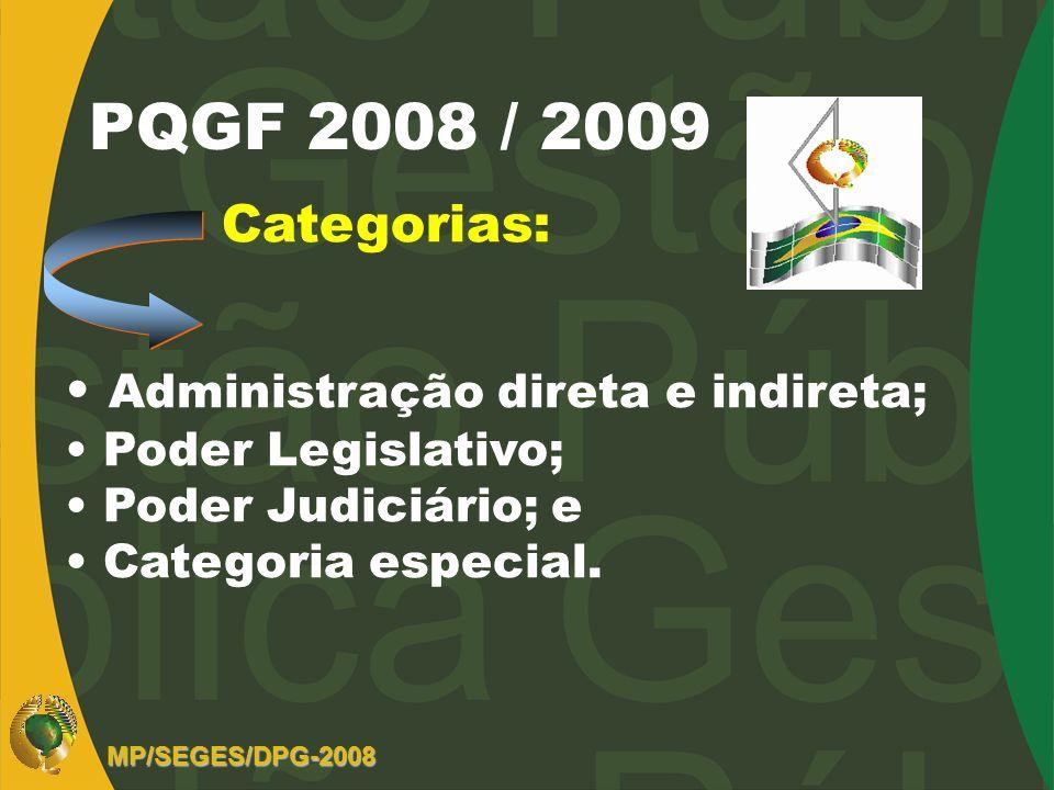 PQGF 2008 / 2009 Categorias: Administração direta e indireta; Poder Legislativo; Poder Judiciário; e Categoria especial. MP/SEGES/DPG-2008