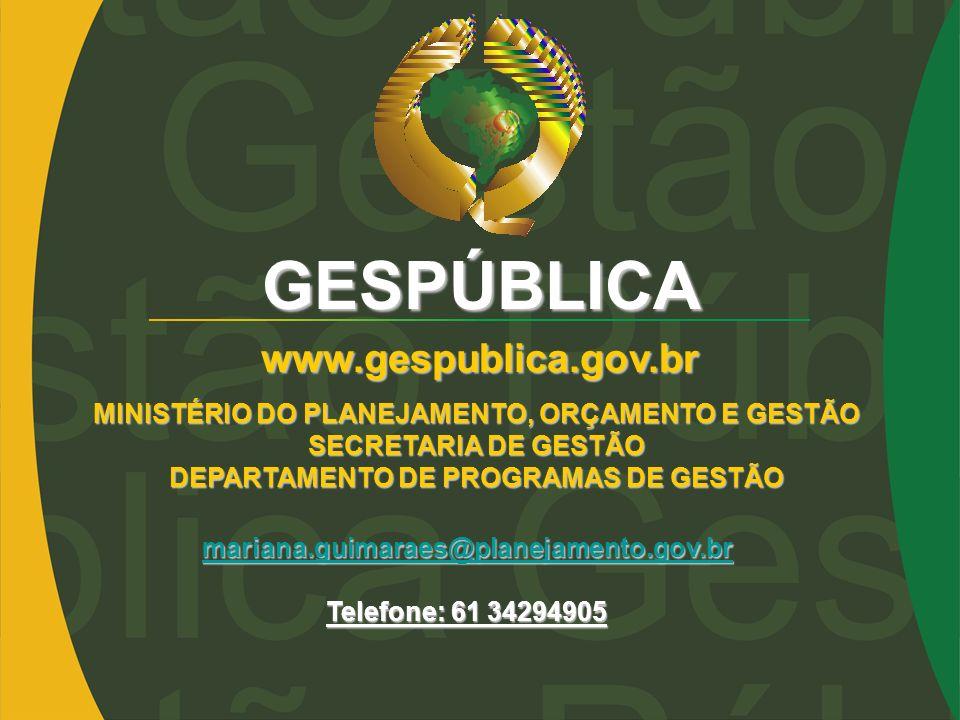 GESPÚBLICA www.gespublica.gov.br mariana.guimaraes@planejamento.gov.br Telefone: 61 34294905 MINISTÉRIO DO PLANEJAMENTO, ORÇAMENTO E GESTÃO SECRETARIA