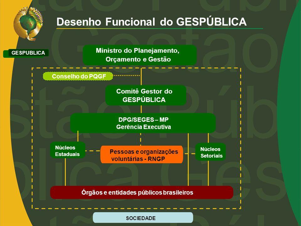 Desenho Funcional do GESPÚBLICA GESPUBLICA DPG/SEGES – MP Gerência Executiva Pessoas e organizações voluntárias - RNGP Comitê Gestor do GESPÚBLICA Min