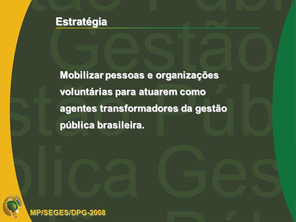 Estratégia Mobilizar pessoas e organizações voluntárias para atuarem como agentes transformadores da gestão pública brasileira. MP/SEGES/DPG-2008