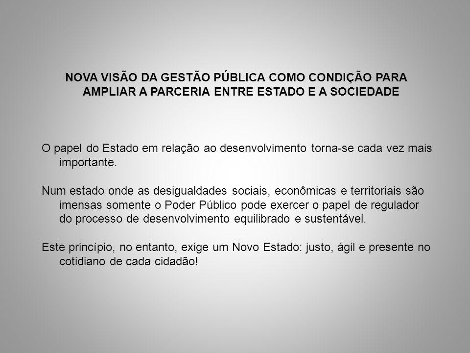 NOVA VISÃO DA GESTÃO PÚBLICA COMO CONDIÇÃO PARA AMPLIAR A PARCERIA ENTRE ESTADO E A SOCIEDADE O papel do Estado em relação ao desenvolvimento torna-se