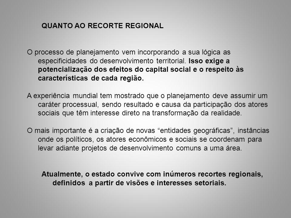 QUANTO AO RECORTE REGIONAL O processo de planejamento vem incorporando a sua lógica as especificidades do desenvolvimento territorial. Isso exige a po