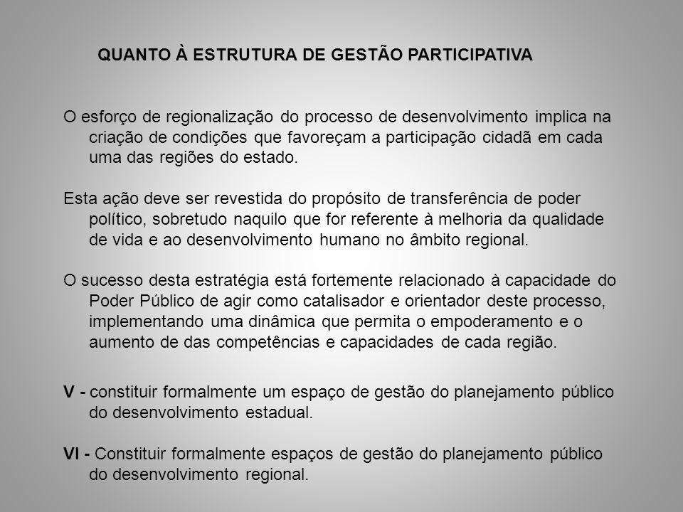 QUANTO À ESTRUTURA DE GESTÃO PARTICIPATIVA O esforço de regionalização do processo de desenvolvimento implica na criação de condições que favoreçam a