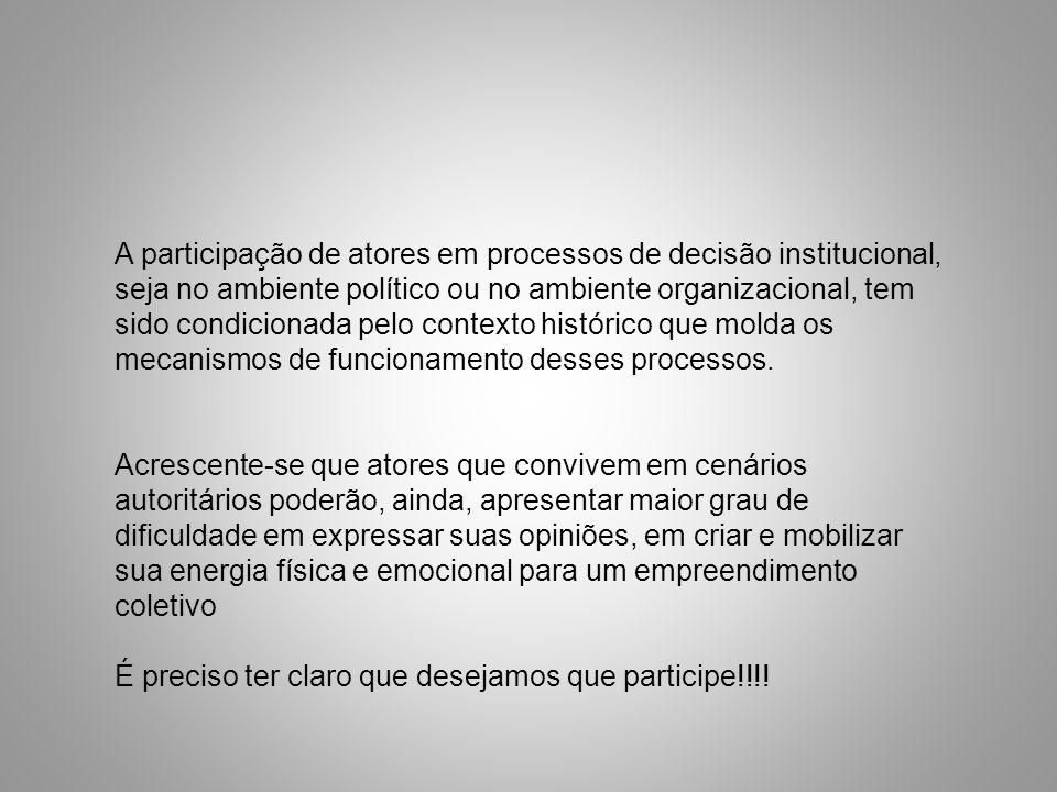 A participação de atores em processos de decisão institucional, seja no ambiente político ou no ambiente organizacional, tem sido condicionada pelo co