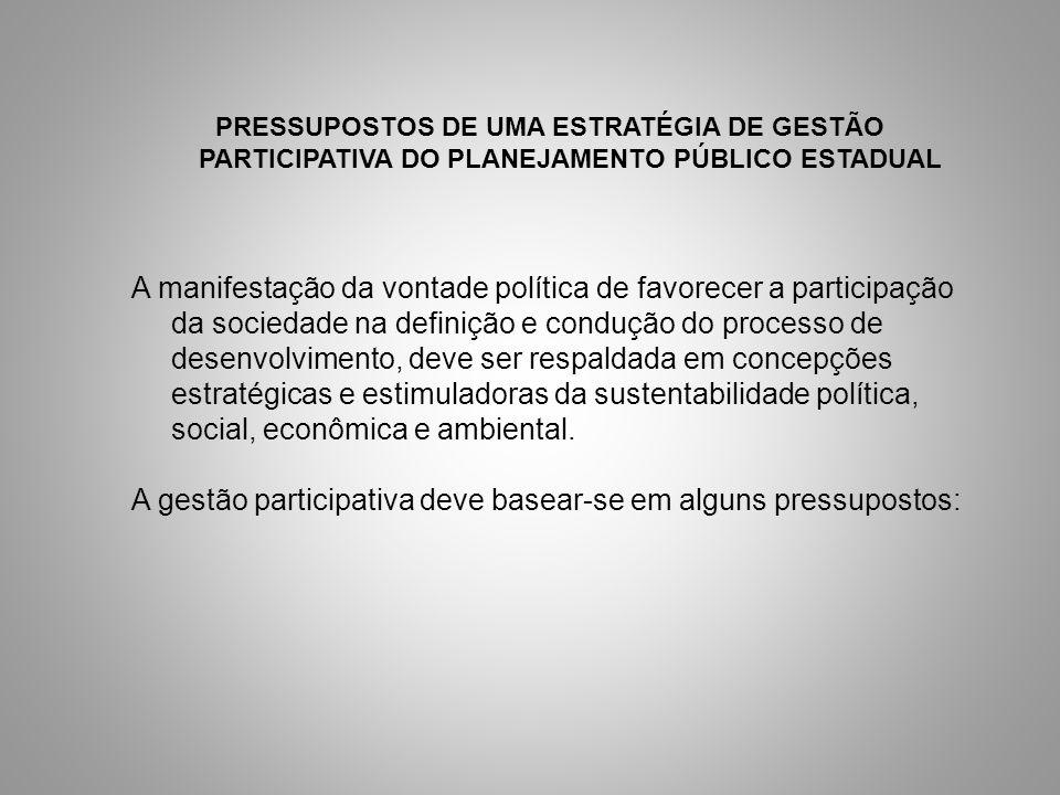 PRESSUPOSTOS DE UMA ESTRATÉGIA DE GESTÃO PARTICIPATIVA DO PLANEJAMENTO PÚBLICO ESTADUAL A manifestação da vontade política de favorecer a participação