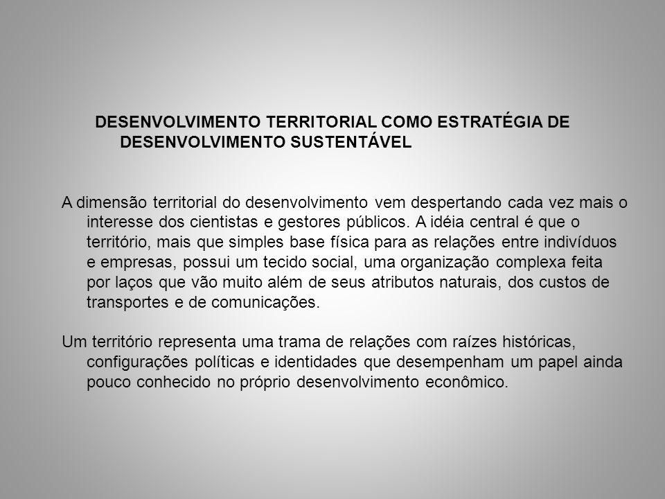 DESENVOLVIMENTO TERRITORIAL COMO ESTRATÉGIA DE DESENVOLVIMENTO SUSTENTÁVEL A dimensão territorial do desenvolvimento vem despertando cada vez mais o i