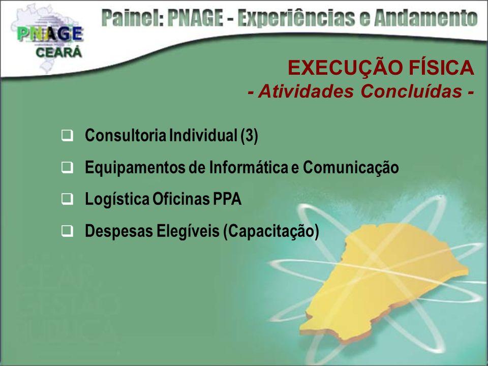 EXECUÇÃO FÍSICA - Atividades Concluídas - Consultoria Individual (3) Equipamentos de Informática e Comunicação Logística Oficinas PPA Despesas Elegíve
