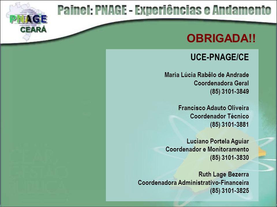 OBRIGADA!! UCE-PNAGE/CE Maria Lúcia Rabêlo de Andrade Coordenadora Geral (85) 3101-3849 Francisco Adauto Oliveira Coordenador Técnico (85) 3101-3881 L