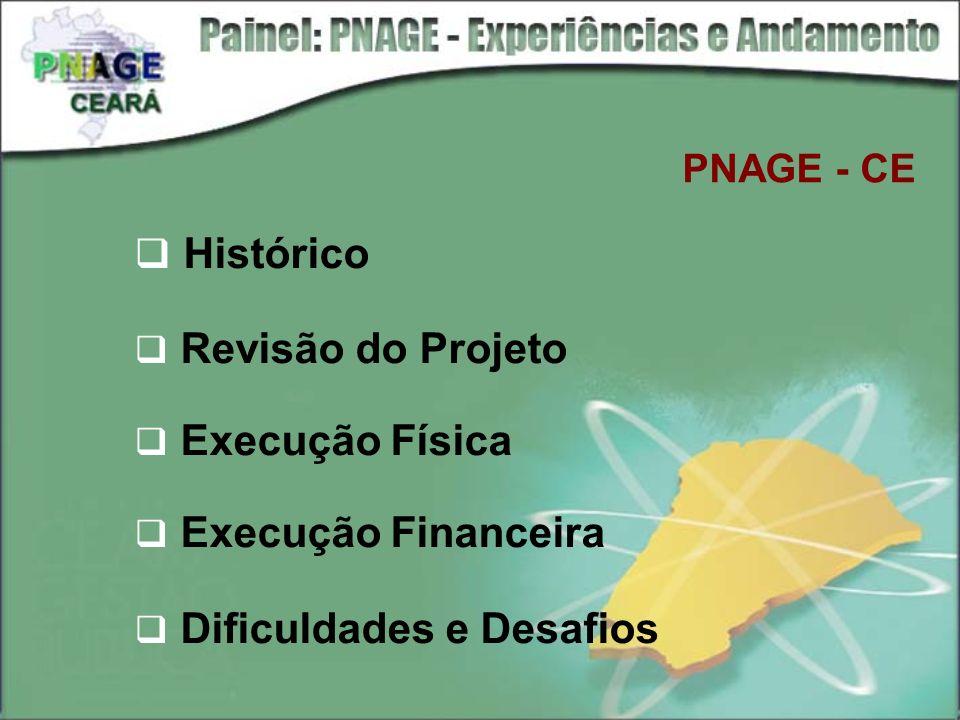 PNAGE - CE Histórico Revisão do Projeto Execução Física Execução Financeira Dificuldades e Desafios