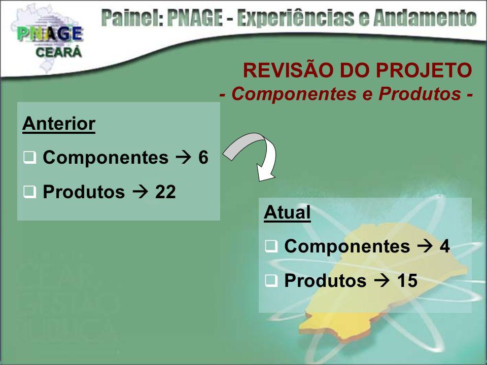 REVISÃO DO PROJETO - Componentes e Produtos - Anterior Componentes 6 Produtos 22 Atual Componentes 4 Produtos 15