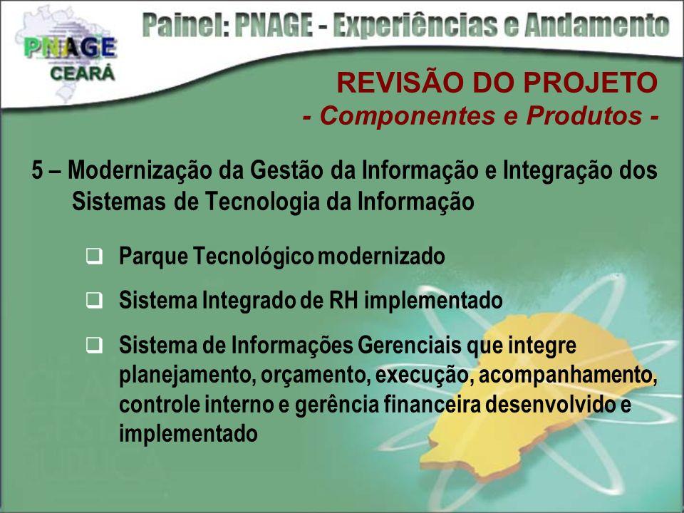 5 – Modernização da Gestão da Informação e Integração dos Sistemas de Tecnologia da Informação Parque Tecnológico modernizado Sistema Integrado de RH