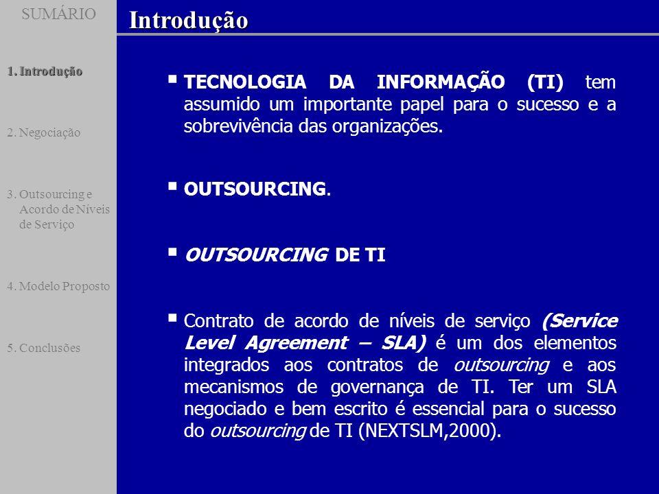 SUMÁRIOIntrodução SUMÁRIO 1.Introdução 2.Negociação 3.Outsourcing e Acordo de Níveis de Serviço 4.Modelo Proposto 5.Conclusões TECNOLOGIA DA INFORMAÇÃ
