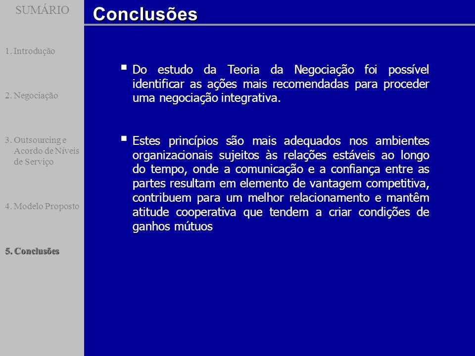 SUMÁRIOConclusões SUMÁRIO 1.Introdução 2.Negociação 3.Outsourcing e Acordo de Níveis de Serviço 4.Modelo Proposto 5.Conclusões Do estudo da Teoria da