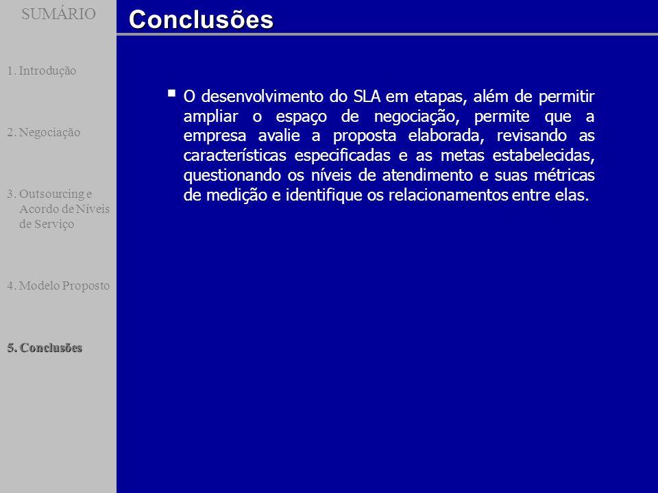 SUMÁRIOConclusões SUMÁRIO 1.Introdução 2.Negociação 3.Outsourcing e Acordo de Níveis de Serviço 4.Modelo Proposto 5.Conclusões O desenvolvimento do SL