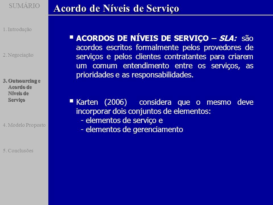 SUMÁRIO Acordo de Níveis de Serviço SUMÁRIO 1.Introdução 2.Negociação 3.Outsourcing e Acordo de Níveis de Serviço 4.Modelo Proposto 5.Conclusões ACORD