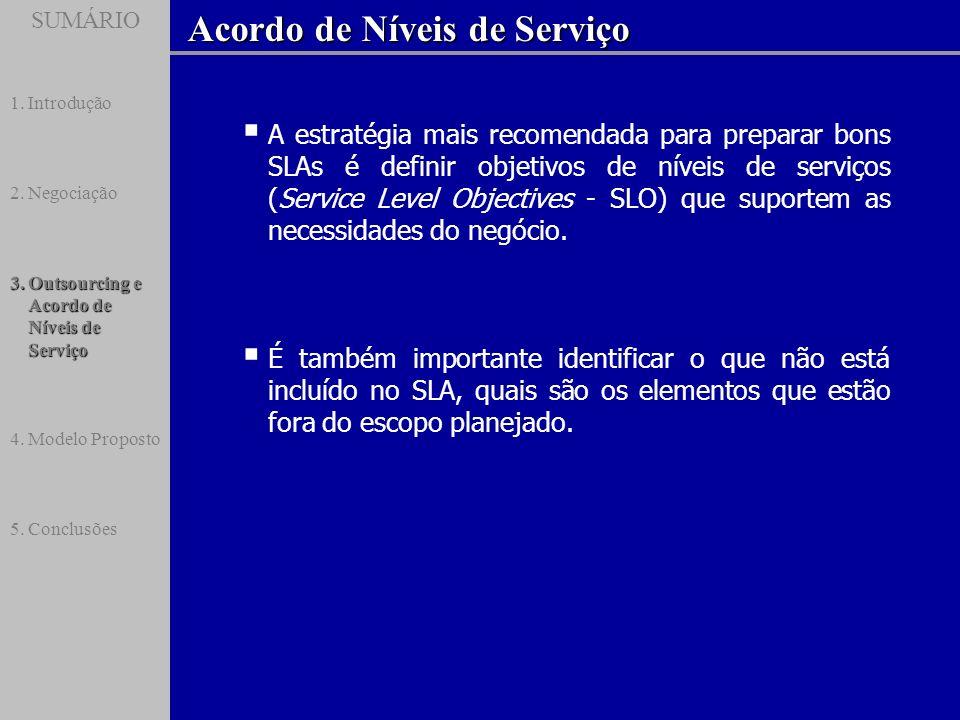 SUMÁRIO Acordo de Níveis de Serviço SUMÁRIO 1.Introdução 2.Negociação 3.Outsourcing e Acordo de Níveis de Serviço 4.Modelo Proposto 5.Conclusões A est