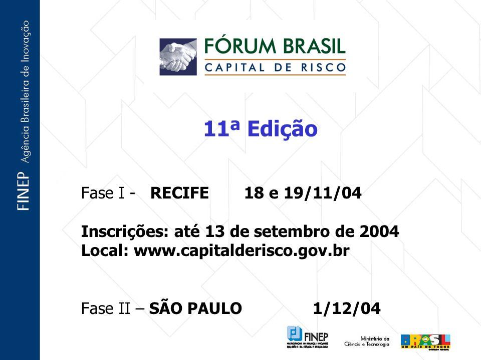 11ª Edição Fase I - RECIFE 18 e 19/11/04 Inscrições: até 13 de setembro de 2004 Local: www.capitalderisco.gov.br Fase II – SÃO PAULO 1/12/04