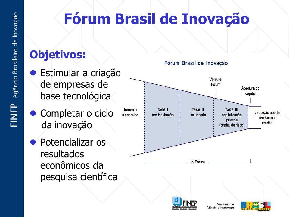 Fórum Brasil de Inovação Objetivos: Estimular a criação de empresas de base tecnológica Completar o ciclo da inovação Potencializar os resultados econ