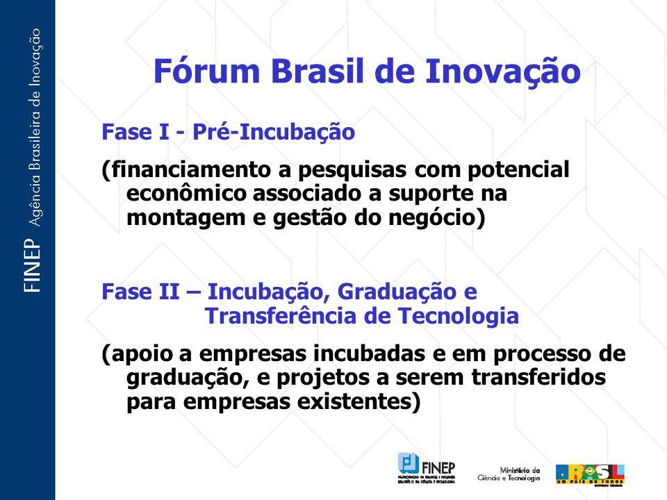 Fórum Brasil de Inovação Fase I - Pré-Incubação (financiamento a pesquisas com potencial econômico associado a suporte na montagem e gestão do negócio