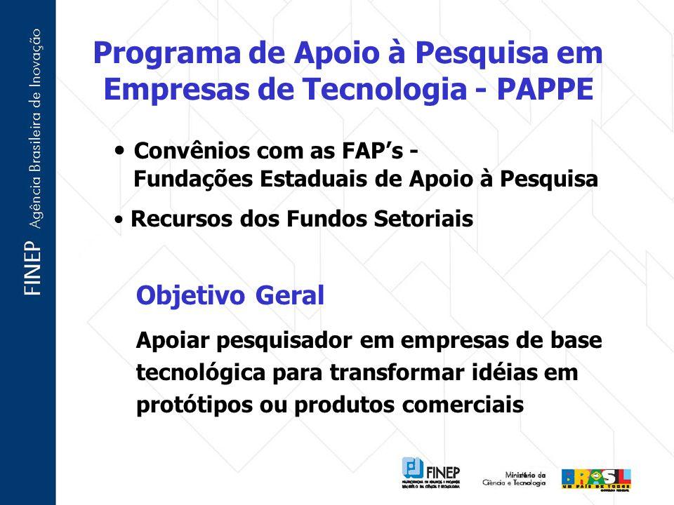 Objetivo Geral Apoiar pesquisador em empresas de base tecnológica para transformar idéias em protótipos ou produtos comerciais Convênios com as FAPs -