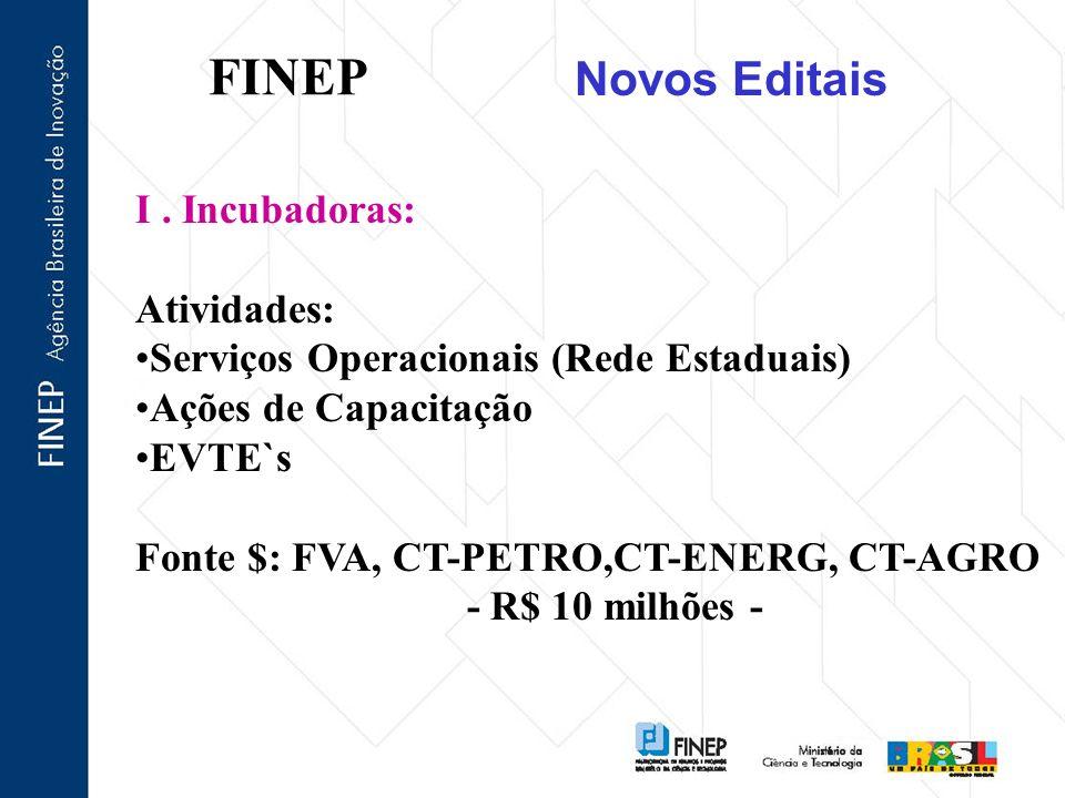 FINEP Novos Editais I. Incubadoras: Atividades: Serviços Operacionais (Rede Estaduais) Ações de Capacitação EVTE`s Fonte $: FVA, CT-PETRO,CT-ENERG, CT