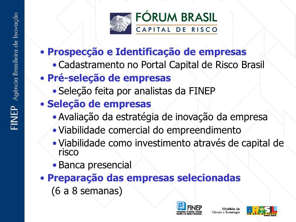 Prospecção e Identificação de empresas Cadastramento no Portal Capital de Risco Brasil Pré-seleção de empresas Seleção feita por analistas da FINEP Se