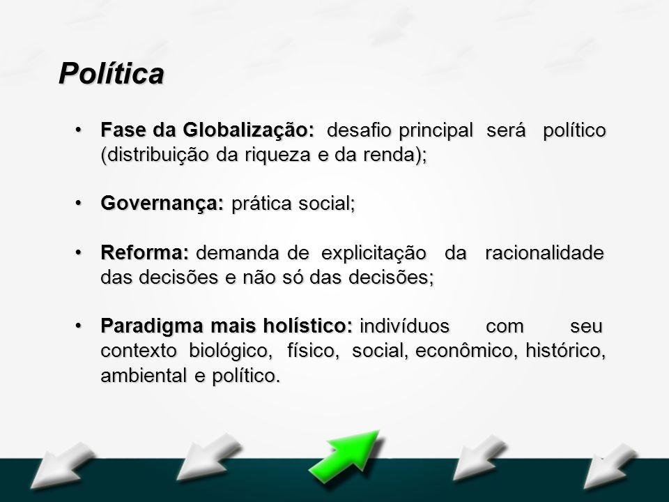 Hospital Geral Dr. Waldemar Alcântara Política Fase da Globalização: desafio principal será político (distribuição da riqueza e da renda);Fase da Glob